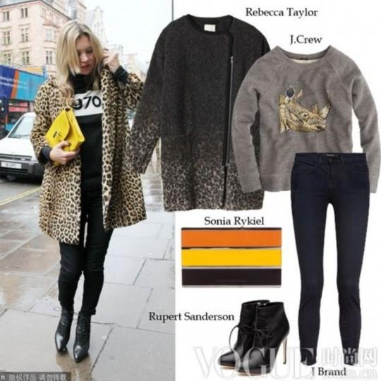 黄色 黑色/Kate Moss以黑色休闲卫衣混搭Topshop豹纹大衣,黑色铅笔裤与...