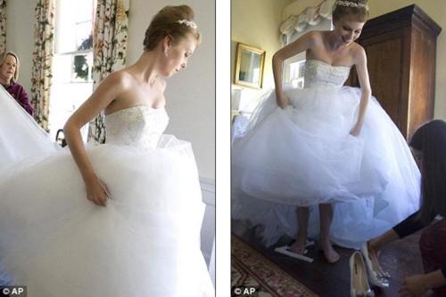 丽莎整理婚纱,准备步入婚礼现场