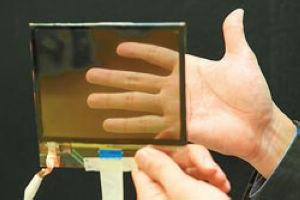 """台湾工研院研发的""""透明显示器"""",单色穿透率可高达40%上。图片来源:台湾《中国时报》"""