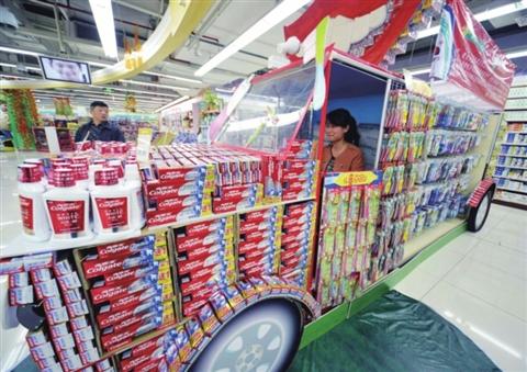 超市纸创意陈列图片图片大全 超市创意堆头陈列图片图片
