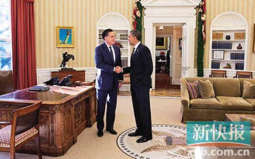 据新华社电 美国总统奥巴马11月29日与共和党前总统候选人罗姆尼在白宫共进午餐,这是两人在大选后首次会面。白宫发表声明说,两人讨论了美国的领导地位问题。