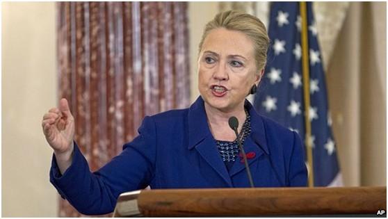 美国国务卿希拉里于11月29日在美国国务院发表关于中美关系的讲话。
