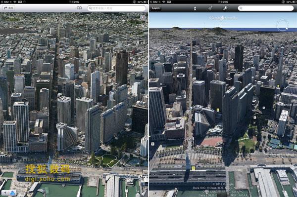 两者的3D城市可谓不相上下