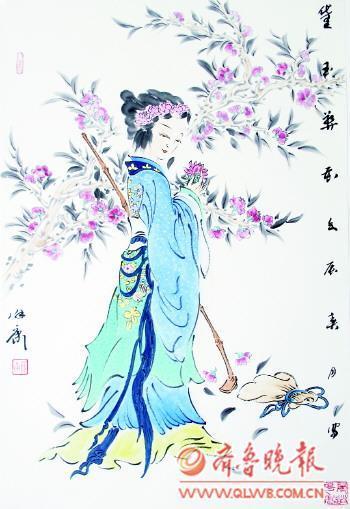 葬花手绘古典美女图片