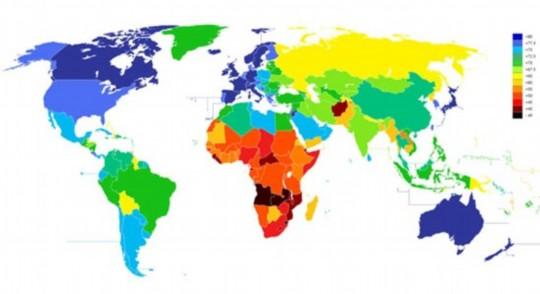 科学家公布全球人口寿命长短地区分布图图片