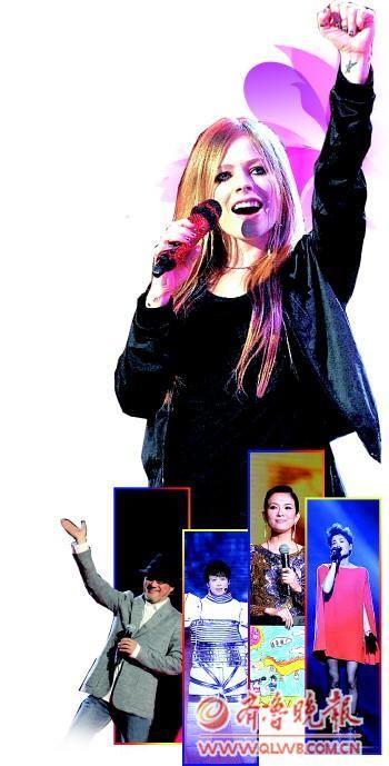 """图为国际巨星艾薇儿的到来,让""""2011跨年之争""""更加白热化。"""