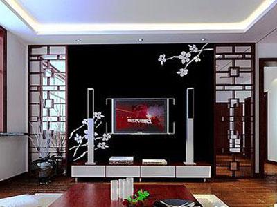 中式客厅装修效果图:水墨画质感