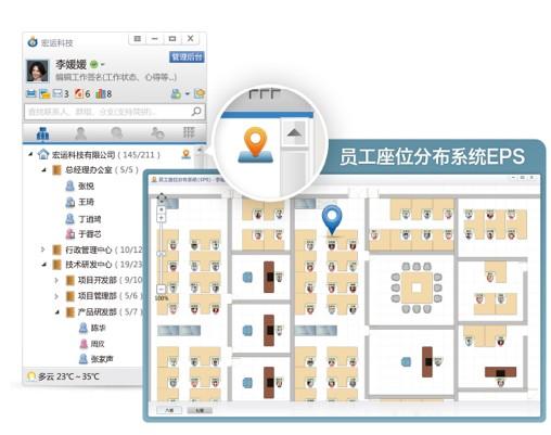 (imo界面图示:组织结构树 eps员工座位分布系统)