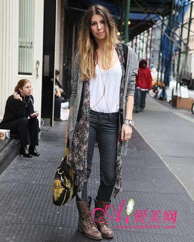 针织外套 显瘦牛仔裤 短靴-街拍最时尚的女靴穿法 混搭冬装in 时尚