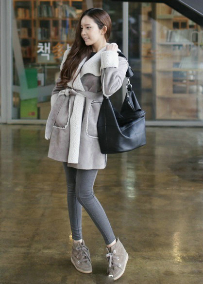 冬季街拍韩范美女 高挑身材穿出来