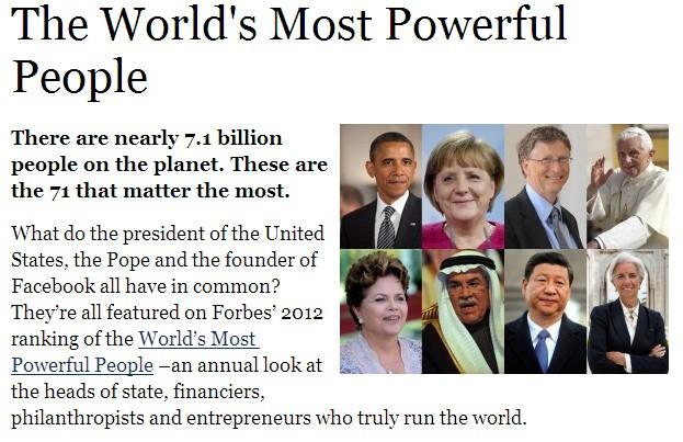 世界权势人物排行_福布斯全球权势人物排名:70人影响70亿地球人