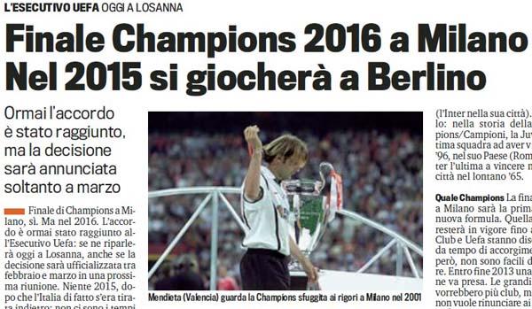 曝2015年欧冠决赛落户柏林 2016重回米兰圣西罗