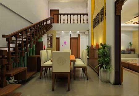 跃式客厅装修图片:中式客厅,楼梯下就是餐桌设计,实木打造生活家具,品