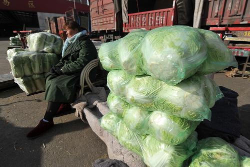 12月7日,在太原市河西农副产品批发市场,一位菜商在等待顾客。新华社记者 詹彦 摄