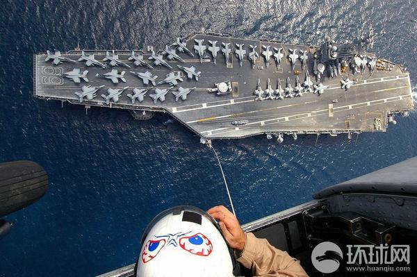 资料图:在波斯湾的美国海军艾森豪威尔号航母.图片