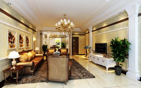 客厅装饰后的简欧风格效果图
