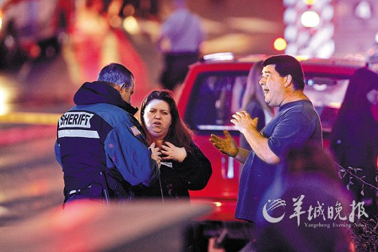 目击证人在回答警方询问 新华社/路透