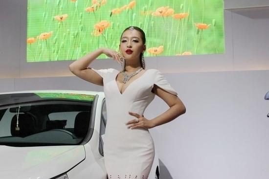 """日,长沙车展,曹阳以""""中国第一车模""""的身份代言本次长沙车展."""