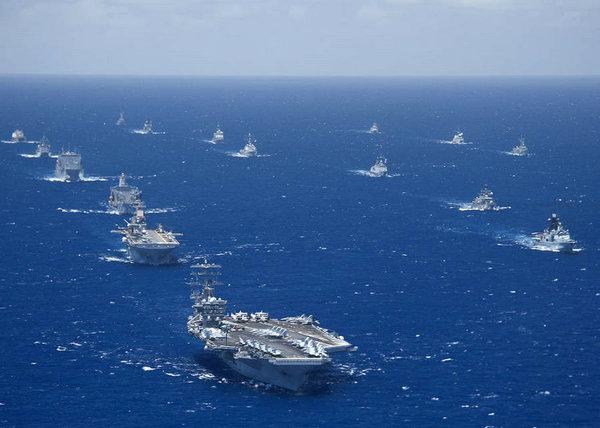 资料图:2012年美军主导的环太平洋军演。