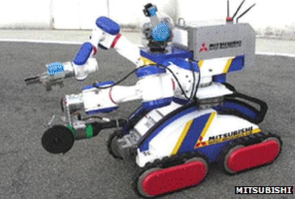 三菱公司制造的这款坦克型机器人高1.3米,每个胳膊能够举起15千克的重物。