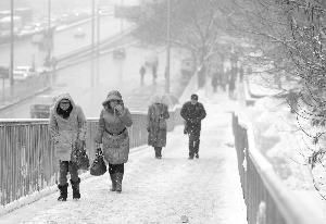 行人走上北京一处白雪覆盖的天桥新华社发