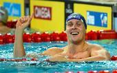 图文:游泳短池世锦赛 赫特兰在获胜后庆祝