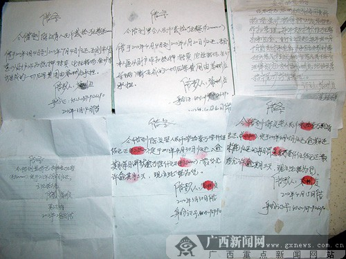 黎彬贞在好几张借条上都写着拿猪场和鱼塘作抵押。