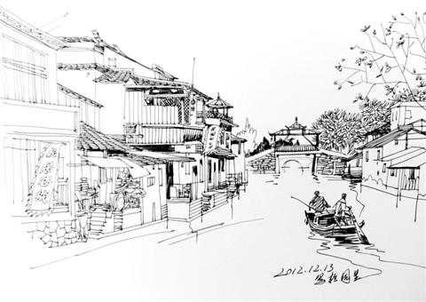 黑白街道手绘画