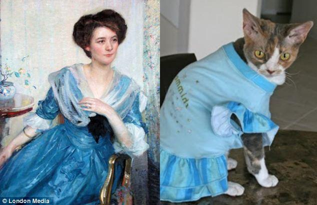 忧郁的感觉:这只大眼睛猫咪对理查德・E・米勒《穿蓝裙子的女人》的诠释很到位。
