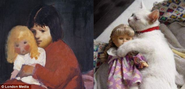 大大的拥抱:这只抱着玩偶的小猫完美再现了乔治-卢克斯(George Luks)的《小女孩与玩偶》。