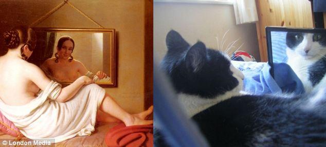 猫咪也虚荣:正如 安东-因索(Anton Einsle)的《镜前的女子》,猫咪们也对自己的外表深感骄傲。
