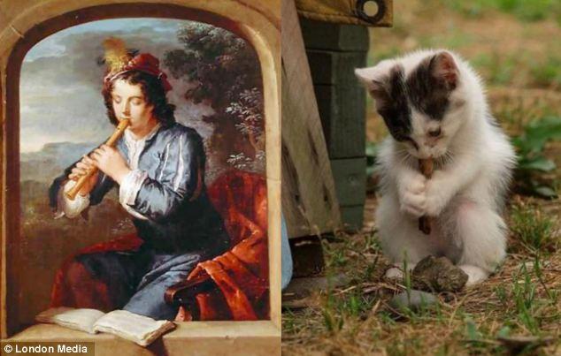 没跑调:这只模仿杰拉德・赫特(Gerard Hoet)《吹笛子的男人》的小猫也展示了它热爱音乐的一面。