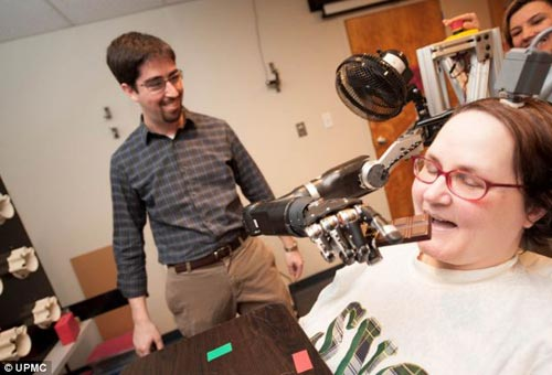 电极与机械手臂之间通过能够翻译脑信号的电脑相连接