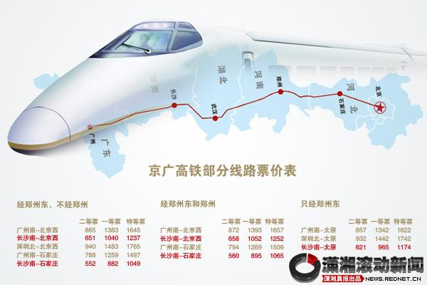 其中广州南,深圳北,长沙南三站每日开北京西站高速动车组共7趟.图片