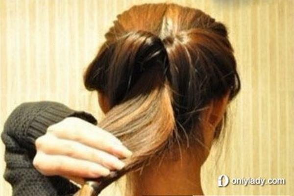 韩式瘦脸diy优雅盘发发型步骤一图片