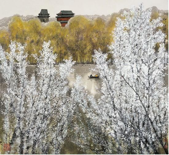 �情春色_钟鼓楼下荡春色 96 96 2008年 在《北京奥运情》找准网画集出版过