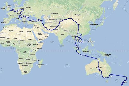 """两人打算用2年的时间,骑自行车从新西兰一路返回老家""""英国""""。"""