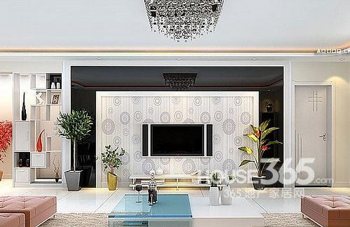 客厅电视背景墙墙纸:白色圆圈壁纸,清爽简约和旁边的黑色设计完美搭配
