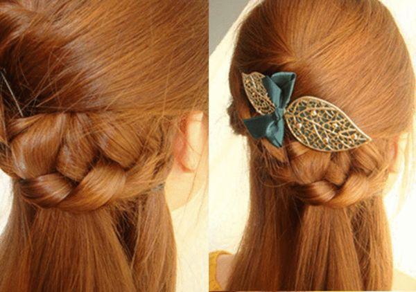 将麻花辫和右侧一缕头发扎在一起.图片