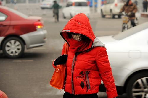 12月28日,河北保定一位市民在寒风中行走。新华社发 (朱旭东 摄)