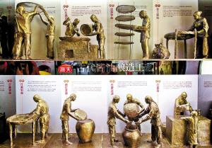 店内展示的古代酱油酿造工艺流程./佛山日报记者 周春 摄