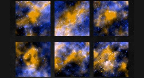 赫歇尔天文台使用的观测波长是250微米,图像中以黄色表示;斯必泽望远镜工作的波长是8微米,图片以蓝色表示。