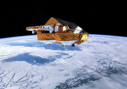 """""""冷星""""(CryoSat)运行在极地轨道上,能够对极地海冰厚度变化进行精确测量。"""