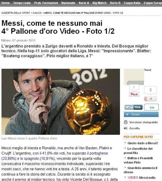 NO.8 《米兰体育报》:梅西,没有人可以像你 梅西不仅比C.罗纳尔图片
