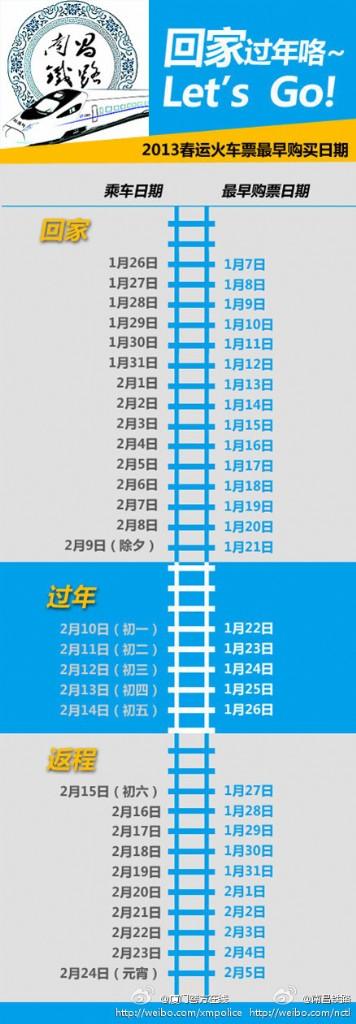 春运超强购票日历(组图)