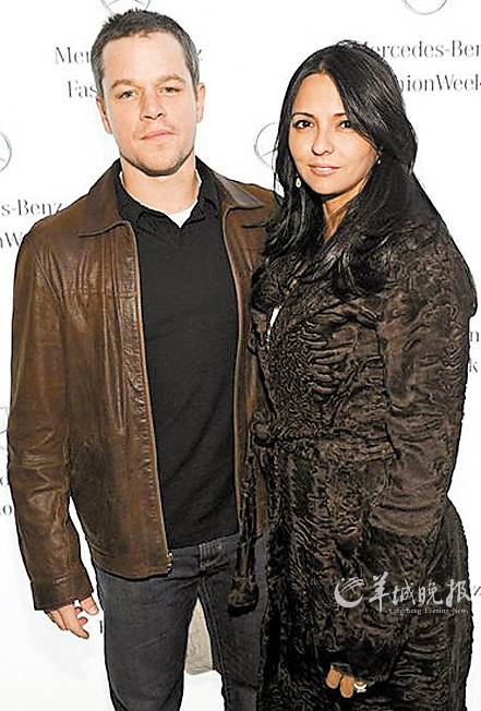 马特・达蒙与妻子露西安娜