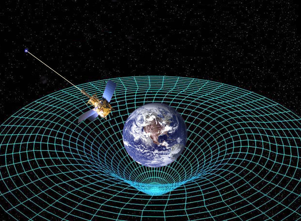 地球 爱因斯坦/爱因斯坦的广义相对论预测环绕地球的时空可能会因地球的旋转而...