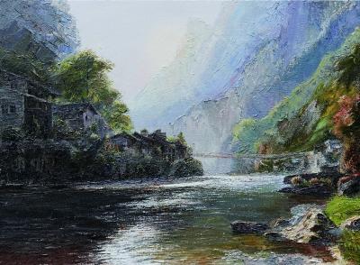 遙遠的風景山峽夕照(油畫) 彭一虹