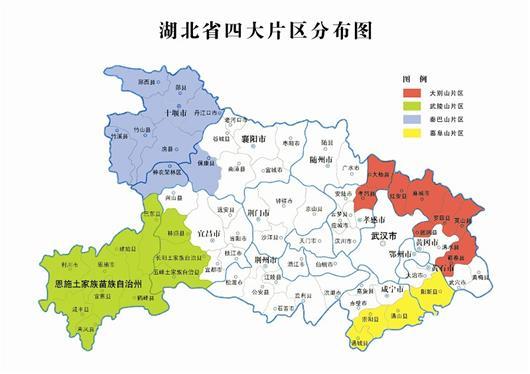 图为:湖北省四大片区分布图