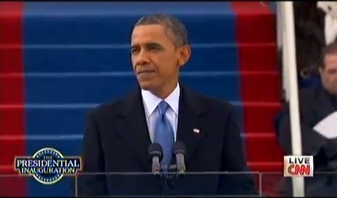 图为奥巴马发表就职演讲